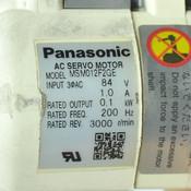 Panasonic MSM012F2GE Minas AC Servo Motor 100W 3phase 84V 3000RPM