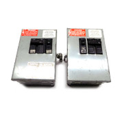 (Lot of 2) General Electric DFPTQLC4 Bus Plug 50A 240VAC w/ 30A Circuit Breakers