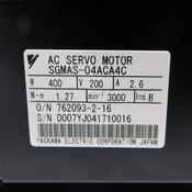 "Yaskawa SGMAS-04ACA4C 400W 200V AC Servo Motor 3000 RPM .55"" Shaft Diameter"