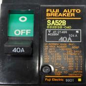 (Mixed Lot Of 5)Fuji Electric SA52B 600VAC Auto-Breakers (2) 10A (2) 15A (1) 40A