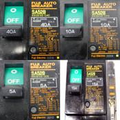(Mixed Lot Of 7) Fuji Electric SA53B Circuit Breakers (3)10A (1)15A (2)5A (1)40A
