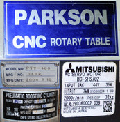 Parkson CNC Rotary Table 4th Axis 44cm Diameter Mitsubishi 7kW HC-SFS702 Motor