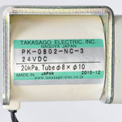 Takasago PK-0802-NC-3 Electric Solenoid Pinch Valve for 8mm Tubing 24VDC 10W NC