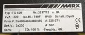 Marx TG620 220-kVA Pri:400/440/460/480V Sec:230V Transformer 3-Ph 325-271A 552A