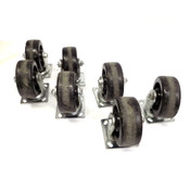 "(Lot of 7) Glide Maxx 5"" Diameter x 2"" Wide Poly Swivel Caster w/ Plate Mount"