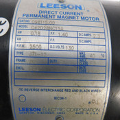 Leeson C42D28NC15A DC Permanent Magnet Motor 2500 RPM 0.18 kW w/Gearhead