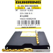 NEW Guhring 9055190049000 4.9mm 118-Degree Cobalt Jobber Drill Bit 10-PK