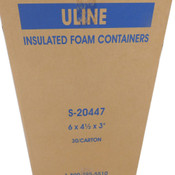 "(Lot of 30) NEW Uline S-20447 Insulated Foam Containers 6""x 4.5""x 3"" Polystyrene"