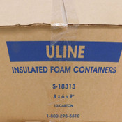 "(Lot of 10) NEW Uline S-18313 Insulated Foam Containers 8"" x 6"" x 9"" Polystyrene"