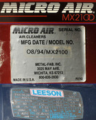 Micro Air MX2100 Industrial Ambient Air Filter 1HP 2100CFM 115V Leeson AS-IS