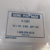 "(200) Uline S-1351 14"" x 20"" 2 MIL Clear Open-Top Flat Plastic Poly Bags 14x20"
