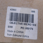 NEW Edmund Optics 43903 Microscope Objective Micro 10X 15.37mm EFL 10/0.25