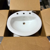 New Bathroom Sink Aqualyn 20x17 Oval Drop-In Countertop White