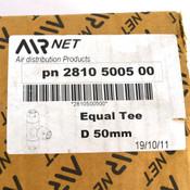 "AIRnet 2810 5005 00 Equal Diameter Tee 50mm / 2"" Aluminum Union Pipe Fitting"