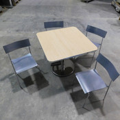Restaurant / Cafe' 3'x3' Wood Top Chrome Table w/ (4) Wooden Chairs