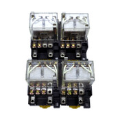 (Lot of 4) Omron LY4-D Plug-In 10A 24VDC Relays 14-Pin w/ PTF14A Socket Bases