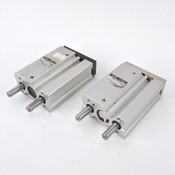 (2) SMC MGQL16-20 Ball Bearing Guided Pneumatic Cylinder 16mm Bore 20mm Stroke