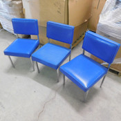 "(Set of 3) Blue Vinyl Side Chairs w/ Chrome Legs 18"" x 18"" Size Seat"