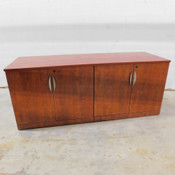 """Wooden Rosewood Finish Office Cabinet 4-Shelf 71"""" L x 24"""" W x 29.5"""" H"""
