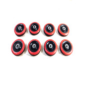 "5"" x 1.25"" Ball Bearing Industrial Caster Wheels Red/Black Hard Rubber (8)"