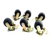 """Industrial 5"""" x 2"""" Black Swivel Type Caster Wheels Phenolic Wheels (6)"""
