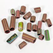 Antique Venetian Millefiori Glass African Trade Beads - Mixed Stripes (20)
