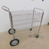 Chrome Wire Basket Rolling Mail Cart 30.5 L x 17.5 W 200 Lb. Capacity
