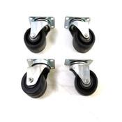 "Heavy Duty Industrial Non-Locking Caster Wheels & Bases 3""D x 2""W (4)"