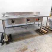 Stainless Steel 3-Bay Steam Table w/ Faucet & Prep Space 88 x 33 x 35