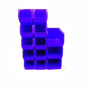 Uline Blue Plastic Stackable Bins S-14454 (10) and S-12421 (3)
