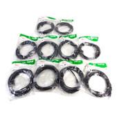 Quest Technology NPC-1115 Black 15' Snagless CAT5E Cables (10)