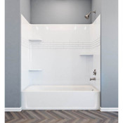 """Mustee And Sons - 680WHT - Topaz Alcove Bathtub Wall White 30"""" x 60"""""""