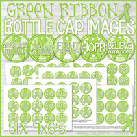 "Lime Green RIBBON Bottle Cap Images, Non-Hodgkins Lymphoma AWARENESS Ribbon 1"" Bottle Cap Images Printable DOWNLOAD"