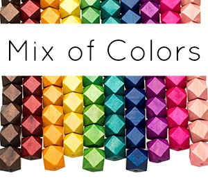 Colored Geometric Wooden Beads MIX 15mm (9 pack)
