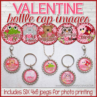 "Animal VALENTINES DAY 1"" Bottle Cap Images Printable DOWNLOAD"