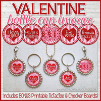 "VALENTINES DAY 1"" Bottle Cap Images + TicTacToe Board  Printable DOWNLOAD"