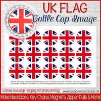 "UK (United Kingdom) FLAG 1"" Bottle Cap Images Printable DOWNLOAD"