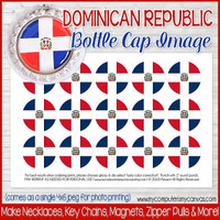 "Dominican Republic FLAG 1"" Bottle Cap Images Printable DOWNLOAD"