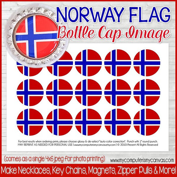 photo about Printable Bottlecap Images named Norway FLAG 1\