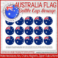 "Australia FLAG 1"" Bottle Cap Images Printable DOWNLOAD"