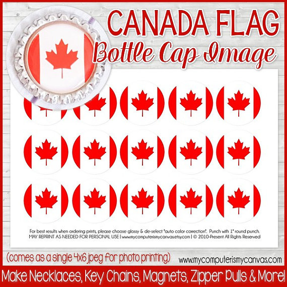 photograph relating to Printable Bottlecap Images known as Canada FLAG 1\