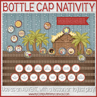 "NATIVITY Bottle Cap Advent Collection, 1"" Bottle Cap Image Printable DOWNLOAD"