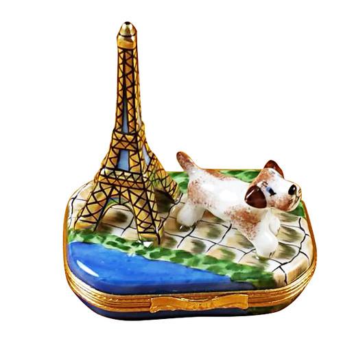 Eiffel Tower W/Jack Russell Terrier Rochard Limoges Box