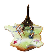 Map Of France W/Monet & Eiffel Tower Rochard Limoges Box