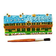 Monet'S Residence At Giverny With Removable Paint Brush Rochard Limoges Box