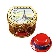 Hat Box 'Mon Paris' Red Hat Rochard Limoges Box