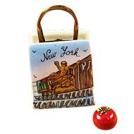 Rockefeller Shopping Bag With Apple Rochard Limoges Box