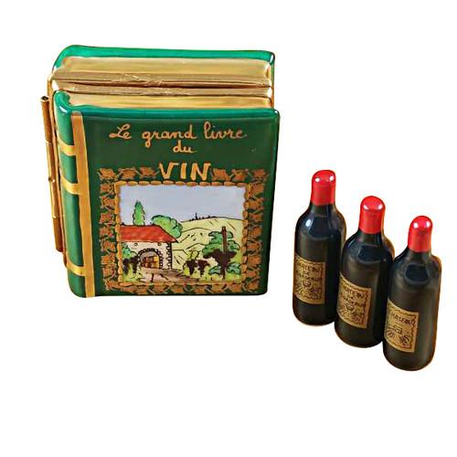 Wine Book W/Three Bottles Rochard Limoges Box