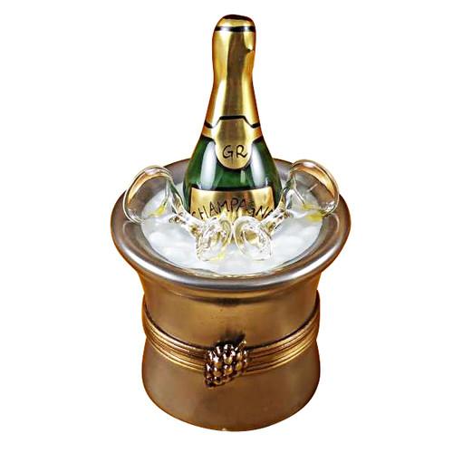 Silver Champagne Bucket W/Glasses Rochard Limoges Box