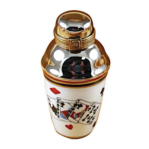 Martini Shaker-Playing Cards Rochard Limoges Box